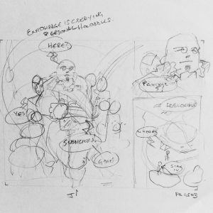 Derek Mah comic illustration rough sketch