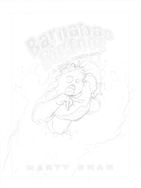 Derek Mah sketch of Barnabas Bigfoot - The Bone Eater written by Marty Chan