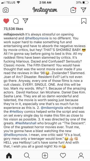 Milla Jovovich Hellboy critics