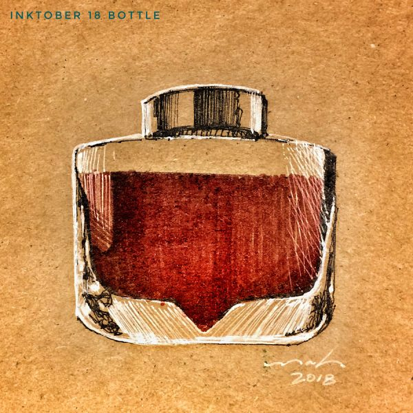 Derek Mah Illustration Inktober Bottle