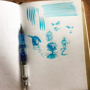 Derek Mah illustrator waterbrushes platinum ink aqua blue