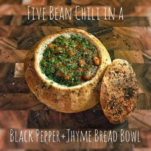 derek mah five bean chili bread bowl