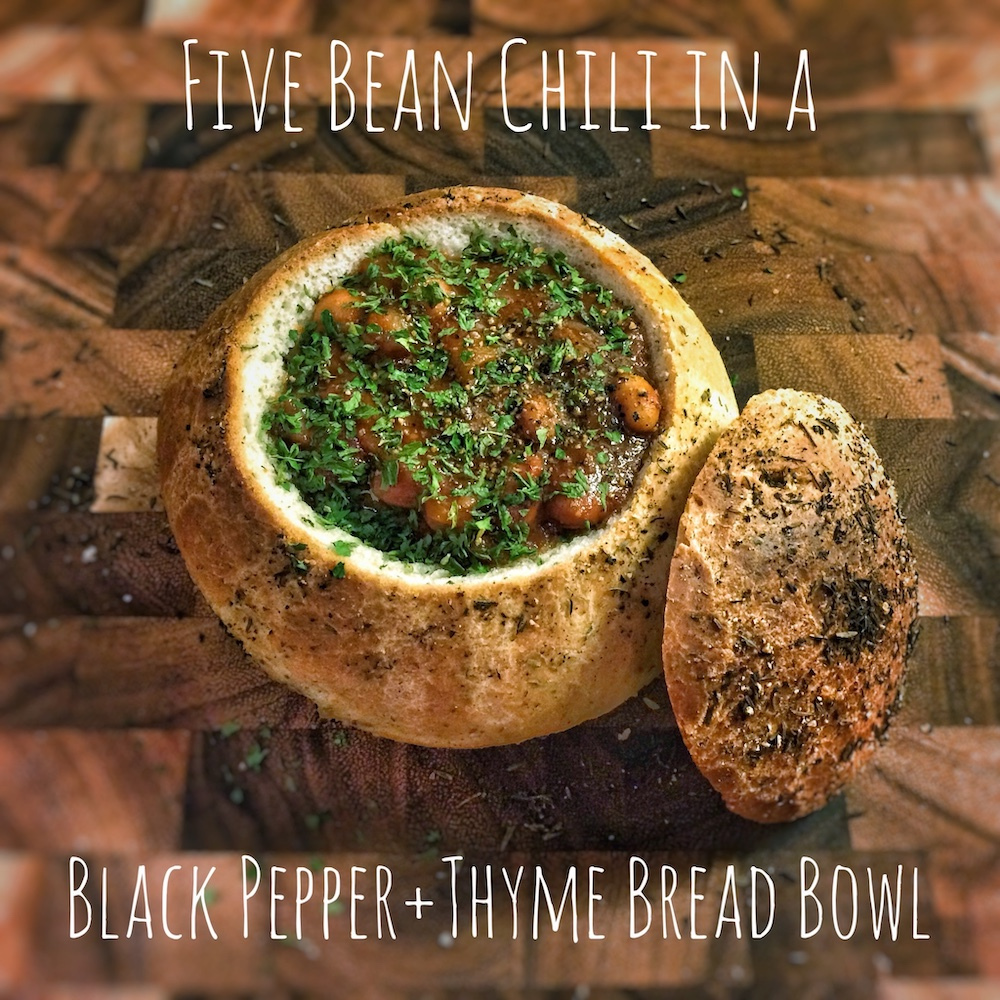 Five Bean Chili In a Bread Bowl